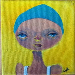 Little Swimmer Original Painting. Small Works 4x4